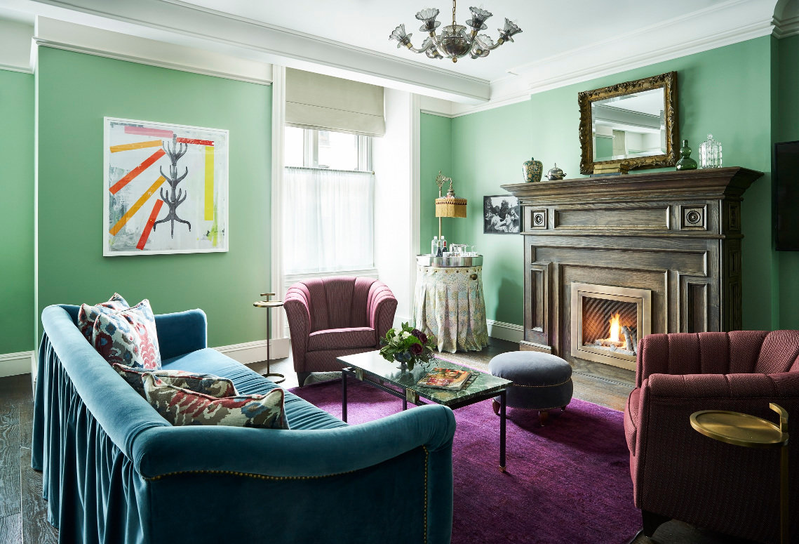 Green Parlor With Fireplace